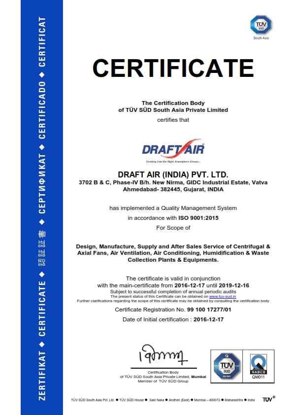 Draft Air - ISO Certificate